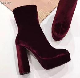 tendências botas de queda Desconto Tendências de moda outono / inverno senhoras sexy botas de salto alto mulheres botas de tornozelo salto robusto com plataforma com zíper botas femininas