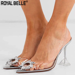 Argentina Royal Belle PVC transparente zapatos de cristal 2019 Verano Nuevo dedo del pie puntiagudo extraño talón Slingbacks Ladies Bling Bling zapatos de boda cheap crystal bling wedding shoes Suministro