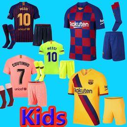 Camisetas de futebol amarelo on-line-fc barcelona jersey crianças 19 20 away amarelo 10 Messi jersey camisa de camisas de futebol 9 SUAREZ 23 MUTITI 14 MALCOM maillot de foot Barcelona