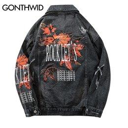 2019 кленовая куртка GONTHWID Vintage мужской Maple Leaf Printed рваных джинсовые куртки мужской Проблемные Denim Jean куртка Мужской Hip Hop Casual