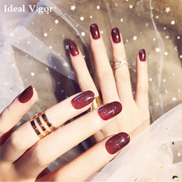 Nail Care, Manicure & Pedicure Official Website 20 False Nails Full Cover Oval Tips Cute Bride Heart Red