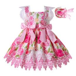 Costume de fille de fleur en Ligne-Pettigirl Rose Filles Robes Avec Des Arcs Mignons Conception Dentelle Manches Fille Robes Fleur Party Robe Enfants Boutique Costumes G-DMGD203-19