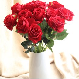 Rosas champagne online-20 Ramas de Seda Champagne Rosas Decoración Del Banquete de Boda Decoración Del Hogar Flores Artificiales