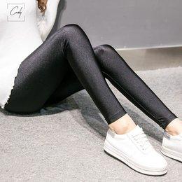 calças de cetim Desconto Moda de Nova Mulheres Satin Leggings fina completa Tamanho do Tornozelo Preto Leggings Stretchy cintura alta brilhante Leggings Básico