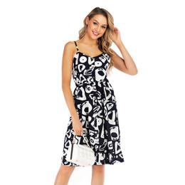 2019 bretelle donna xl 2019 Fashion New Womens Designer Dress Stampa Suspender Gonna Abito senza maniche Estate Abito di alta qualità nero Taglia S-XL sconti bretelle donna xl