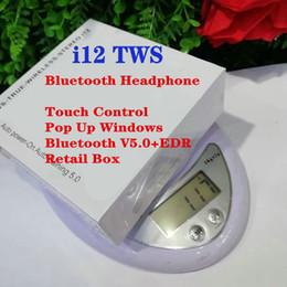 удобные bluetooth-наушники Скидка i12 TWS беспроводные наушники сенсорного управления наушники поддержка всплывающее окно Bluetooth 5.0 наушники с зарядной коробкой розничная коробка для смартфона