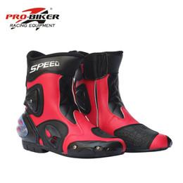botas moteras de moto Rebajas 2017 Botas Hombre Botas de moto de cuero PU Pro-biker Speed Bikers Moto Racing Zapatos de Cuero de Motocross Negro / rojo / blanco