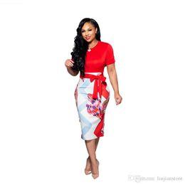2019 falso vestido sexy Vestido de verano con paneles para mujer Vestido para damas sexy OL con saches Fashion Fake 2pcs vestidos falso vestido sexy baratos