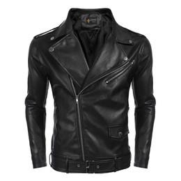 2020 giacca a zip intera Gli uomini gira giù Cuoio Full Zip solido casuale, Giacca ciclismo Slim Fit motociclo w / Pocket, Jakcet Cintura sconti giacca a zip intera