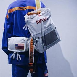 опрятные рюкзаки средней школы Скидка Сумки на открытом воздухе 18FW HERON PRESTON NASA Рюкзак сумка черный белый водонепроницаемый сумка для мужчин, женщин