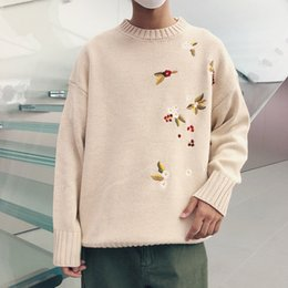 Autumn And Winter New Sweater Men Warm Fashion Flower Embroidery Casual  Loose O-neck Long-sleeved Knit Pullover Man Clothes f58d7b9d8