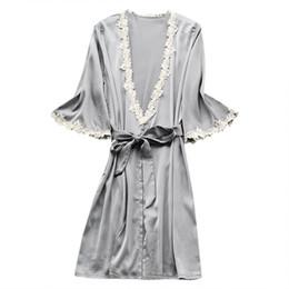 2019 vestido de cetim pijamas ISHOWTIENDA Mulheres Sexy Satin roupão De Seda Pijamas Pijamas Camisola Lingerie Noite Vestido camisola de dormir feminino desconto vestido de cetim pijamas