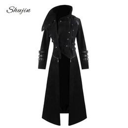 Jaquetas steampunk on-line-Shujin mens gótico steampunk com capuz trincheira traje partido casaco de manga longa jaqueta moda mens jaquetas casacos chaqueta hombre