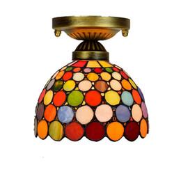 douille de lampe à suspension Promotion 20CM Tiffany lustre en verre allée lampes balcon couloir petit plafond lumière rétro européenne bar coloré TF015