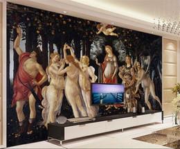 Tamaño personalizado papel tapiz fotográfico mural de la pared 3d sala de estar Mito diosa de la primavera Ángel pintura al óleo sofá telón de fondo papel tapiz mural no tejido etiqueta desde fabricantes