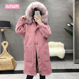 d7dd297eefc Korean version of the large size women s winter dress micro-fat loose thick  fur collar hooded jacket 2018 long corduroy jacket