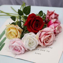 seidenrose handgelenk corsage Rabatt Künstliche Seidenblume Real Touch Rose Blume Hochzeitssträuße Corsage Handgelenk Blume Kopfschmuck Mittelstücke Party Decor LXL282