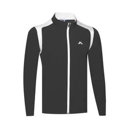 Куртка для гольфа Мужская весна и осень сплошной цвет Одежда для гольфа Рубашка для гольфа с длинным рукавом повседневная дизайнерское пальто 2019 от Поставщики оптовый торговец теплой курткой