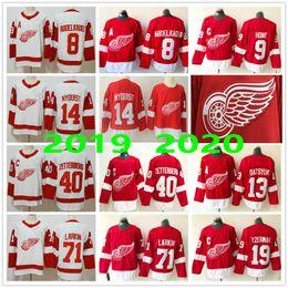 2019 camisa de ala vermelha yzerman Homem Mulher Kids jovens do Detroit Red Wings # 8 Justin Abdelkader Larkin 9 Gordie Howe 14 Gustav Nyquist 13 Pavel Datsyuk 19 Steve Yzerman Jerseys camisa de ala vermelha yzerman barato