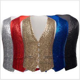 2019 42 brustgröße Mode Slim Fit Einreiher Männer Anzüge Weste Lässige Kostüm Jacken Sleeveless Weste Fünf Farben Plus Größe 36R-46R günstig 42 brustgröße