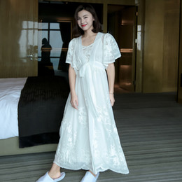 7ae968e34174 Summer Luxury Deep V Soft Silk Two Pieces Female White Robe Sets Short  Sleeve Floral Long Nightgowns Loose Night Dress