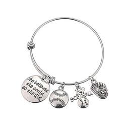 Nuove lettere del braccialetto di baseball che ha creduto che potessero i braccialetti registrabili i braccialetti di fascino del pendente di fascino dell'acciaio inossidabile di Softball da braccialetti di sequin fornitori