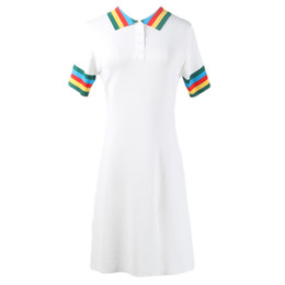 curved lines dress Coupons - 2019 Spring New Womens Clothes Elegant Fashion Party Dress Pullover Short-sleeved Color Lapels Long Curved Beads Knit Dress Size S-L