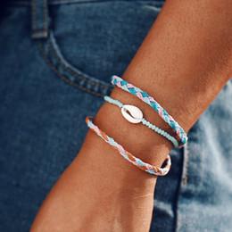 2019 bracelets bohème multicouches Bracelet corde de coquille Bracelet de charme multicouche de plage Bohême pour hommes femmes 3PCS / Ensemble de bijoux d'amitié tissés à la main pour corde de mariage bracelets bohème multicouches pas cher