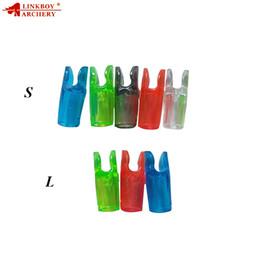 Conjunto de setas de arco plástico on-line-Linkboy tiro com arco tiro 60pcs linkboy tiro com arco flecha de plástico conjunto nock composto arco recurvo arco longbow seta preço de fábrica caça