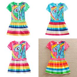 karikaturdruckkleidmädchen Rabatt Mode Sommer Kinderbekleidung Cartoon Baumwolle Prinzessin Kleid Pony Print 3 Farbe Mädchen Kurzarm Kleid Regenbogen Rock