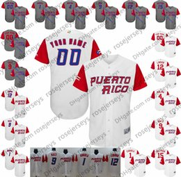 Custom Puerto Rico WBC Gray White Jersey 2017 World Baseball Classic  1  Carlos Correa 9 Javier Baez Any Name Number men women youth 68d9df21a