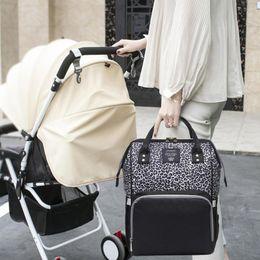 Zaino di maternità di grande capacità della borsa impermeabile del pannolino della mummia del leopardo da