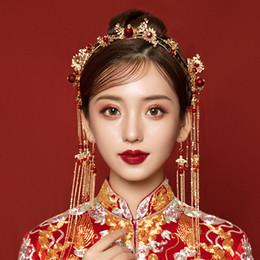 feda88022c06 T1019 stile cinese sposa copricapo classico set di gioielli da sposa lega  d oro rosso perline nappe brida corona dei capelli cerchio delle forcelle