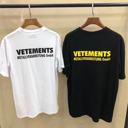 2019 nueva camiseta larga de botín 2019 Vetements camiseta Negro Blanco Hombres Mujeres Metallver arbeitung Gm BH Top Tees Hip Hop Vetements Camisetas