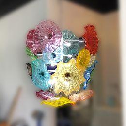 Lumières artistiques de la salle à manger en verre en Ligne-Artistique Murano Fleur Lustre Lumière Chambre Salon Salle À Manger Art Décoratif Main Plaques De Verre Soufflé Lustre Led Luminaires