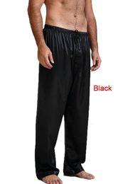 Pantaloni in raso di mens online-Uomini Satin Seta Bottoms sonno Pantaloni casual Maschio Sleepwear Mens Long Lounge Pigiama Soft Underwear