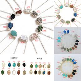 New Druzy Stone collane Orecchini Geometric Natural stone Pendant Gold Catene d'argento per le donne Ragazze Fashion Jewelry Gift in massa da
