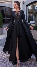 b53b9c791c80 Abiti da sera formali arabi alla moda nuova 2019 Sexy Front alta fessura  modello Applique maniche lunghe abiti da sera Designer Prom Dress Floor  Length ...
