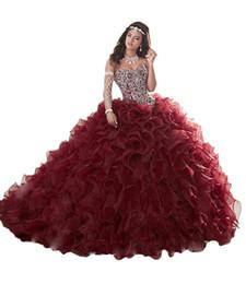 2019 trendige quinceanera Setwell Sweet 16 trägerlosen Ballkleid Organza Quinceanera Kleid ärmellos bodenlange geschwollene Perlen Abiballkleid