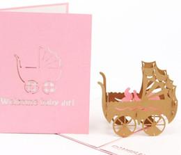 Convite meninos on-line-3D Pop Up Bbay Carruagem Cartões Do Convite Do Chuveiro Do Bebê Cartão de Crianças Cartões de Convite de Aniversário para Meninas Fontes Do Partido Do Menino