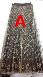 Deutschland Frauen Brand Letters Rock Mid-Calf Letters Print A-Line Hochwertige High Waistline Elastic Waist Lange Faltenrock Kleid Versorgung