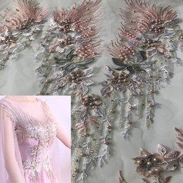 Perline applique per cucire online-1 pezzo di perline tessuto patch di fiori ricamati tessuti di pizzo africano applique cucire abiti da sposa vestiti patchwork fai da te