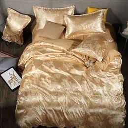 Ropa de cama jacquard de oro rosa online-Jacquard satinado 4 piezas Juego de ropa de cama Sábana plana Funda de edredón BS136 Fundas nórdicas Fundas de almohada Tamaño doble Corte Estilo Royal GOLD PINK