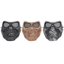skull half face paintball mask Promo Codes - TPR Cycling Face Mask Creepy Horror Skull Half Face Mask for CS Paintball Party Cosplay Props Toxins  Odor Free Protection