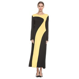 Женщина вязаная одежда дизайн онлайн-Women Fashion Elegant Dresses Muslim Splice knitting LongSleeve Arab Dress Islam Jilbab Stylish Design Maxi Dress Clothes z0415