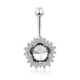 2019 anéis de diamante de strass 20 pçs / lote Aço Inoxidável Umbigo Anel de Cristal Strass Estrela Flor Em Forma de Umbigo Unhas Moda Punção Jóia Do Corpo anéis de diamante de strass barato