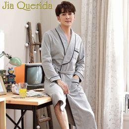7369ddf898 J Q Kimono Men 2019 New Rede De Dormir Cotton Bathrobes Elegant Sleepwear  Solid Color 100% Pure Cotton Brand Pajama Robe For Men