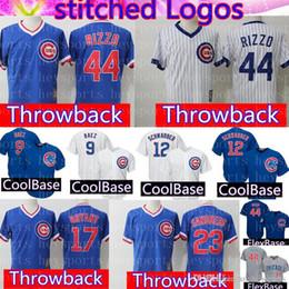 da97490b676 Retro Mesh Chicago Cubs Jersey Mens 17 Kris Bryant 44 Anthony Rizzo 23 Ryne  Sandberg 12 Kyle Schwarber 9 Javier Baez Baseball Jerseys