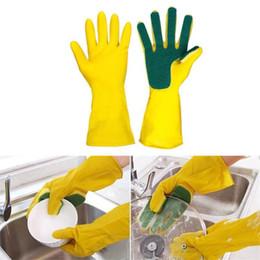 Посудомоечные перчатки онлайн-Кухонные губчатые перчатки Домашнее мытье Spone Чистящие перчатки Блюдо Губка Пальцы кисть Glovers Бытовые кухонные инструменты для мытья посуды