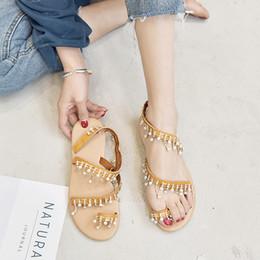 Eté 2019, nouvelles perles à la main pour femmes européennes et américaines de la mode, fond plat, sandales à la taille 34-43 ? partir de fabricateur